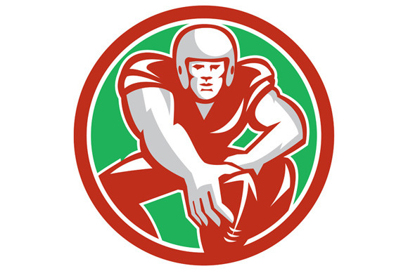 Football Player Snap Circle Retro