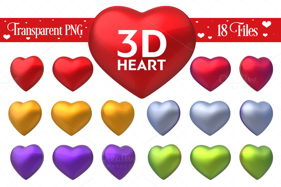 3D Heart On Transparent Background