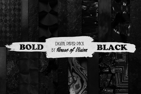 Bold Black Textured Paper Pack