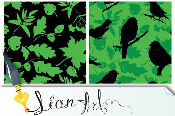 Set Of Seamless Patterns With Birds