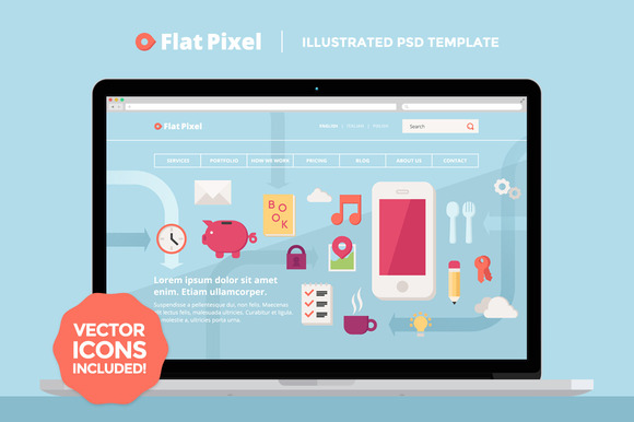 FlatPixel Illustrated PSD Template