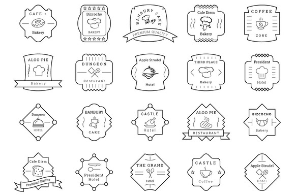 85 Cafe Bakery Hotel Badges Labels