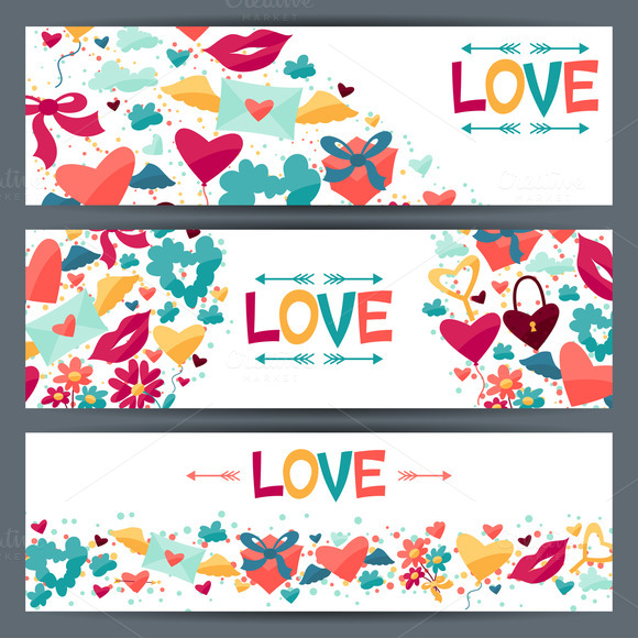 Banners With Valentine S Icons