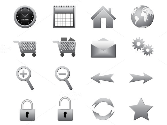 Silver Icons Vector Illustration
