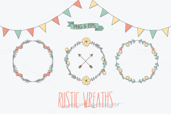 Rustic Wreaths Png Vector EPS