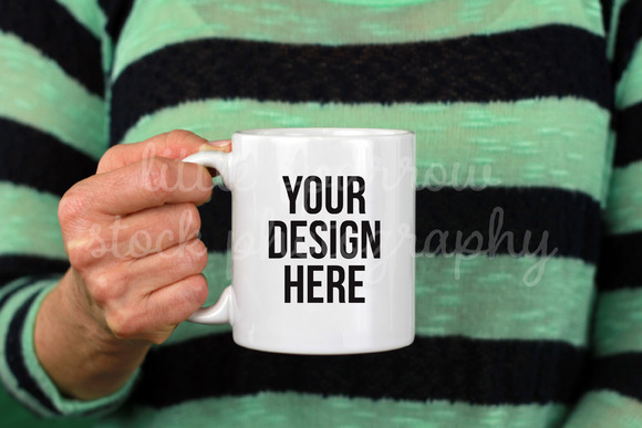 Mint Stripe Coffee Mug Mock Up
