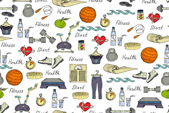 Pattern With Symbols Of Fitness