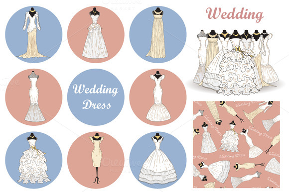 Set Of Hand Drawn Wedding Dresses