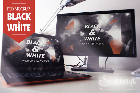 Screens PSD Mockup Black White