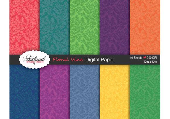 Floral Vine Digital Paper Brights