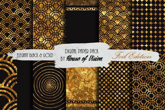 Elegant Black Gold Paper Pack
