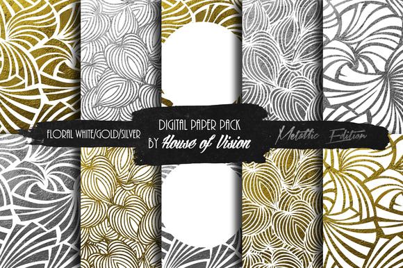 Floral White Silver Gold Paper Pack