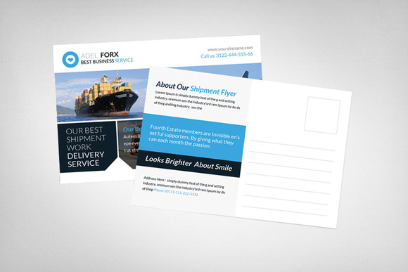 Delivery Shipment Postcard Template