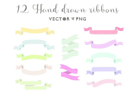 Hand Drawn Ribbons Clip Art