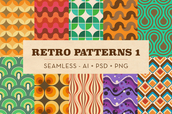 10 Seamless Retro Patterns