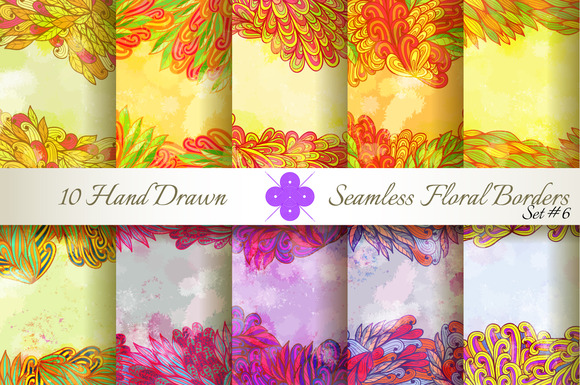 10 Floral Seamless Borders Set#6
