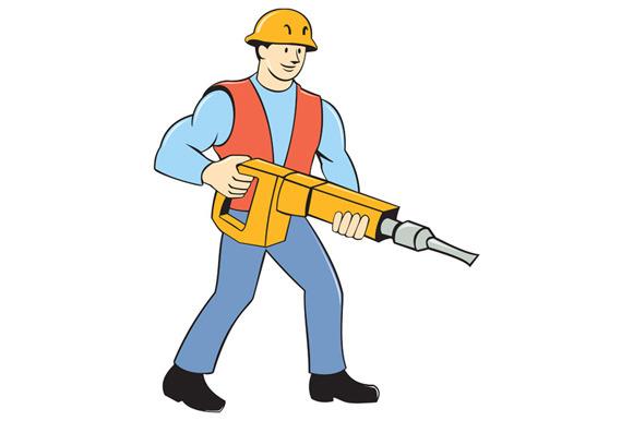 Construction Worker Holding Jackhamm