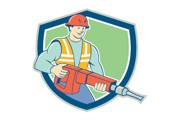 Construction Worker Jackhammer Shiel