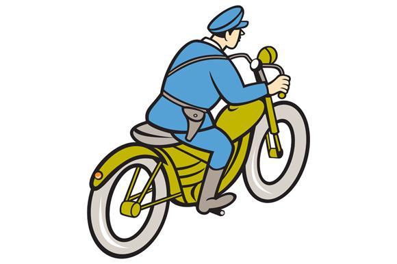 Highway Patrol Policeman Riding Moto