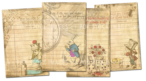 Wonderland Retro Journaling Cards