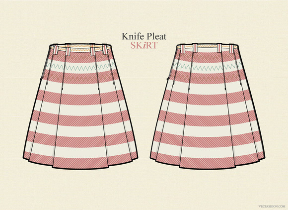 Chic Style Knife Pleat Woman Skirt