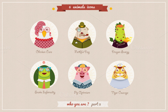 6 Animlas Characters Icons Part2