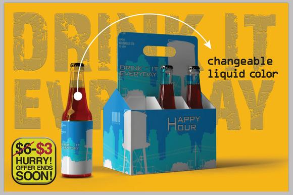 Six Pack Beer Bottle Mock Up