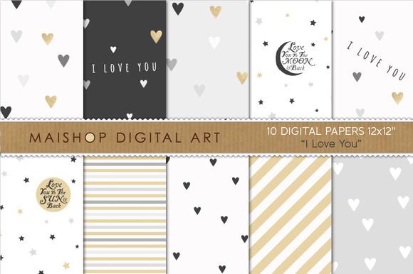 Digital Paper I Love You