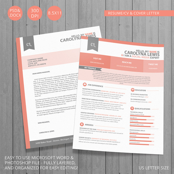 Resume CV And Cover Letter Set