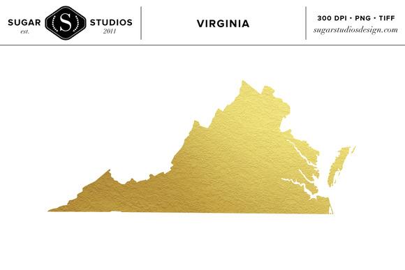 Virginia Gold Foil State Clip Art