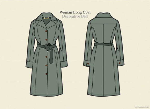 Woman Long Coat Vector Template