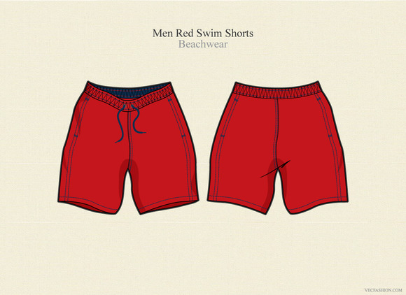 Men Swim Shorts Vector Template