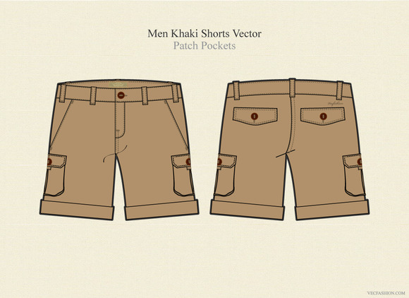 Men Khaki Shorts Vector Template