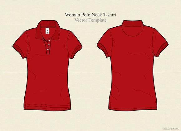 Woman Polo Neck T-shirt Vector