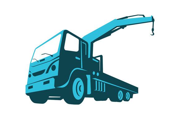 Truck Crane Cartage Hoist Retro