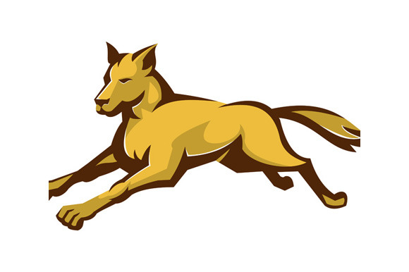 Wild Dog Wolf Jumping Front Retro