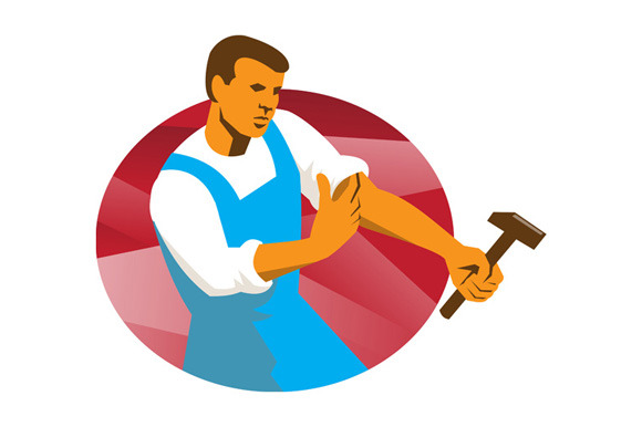 Worker With Hammer Rolling Up Sleeve