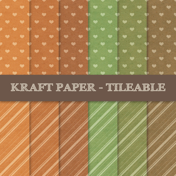 Kraft Paper With Hearts And Stripes