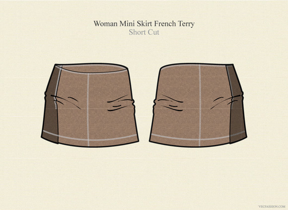 Woman Mini Skirt French Terry
