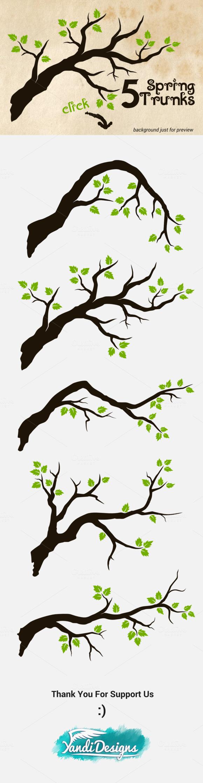 5 Spring Trunks Green Tree