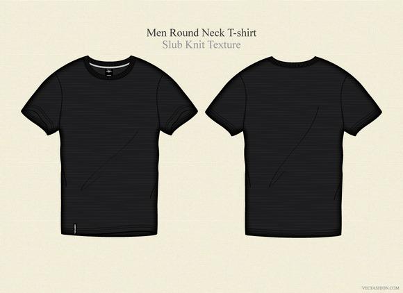 Men Black Round Neck T-shirt