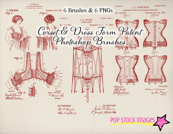 Corset Patent Drawing Brushes Set