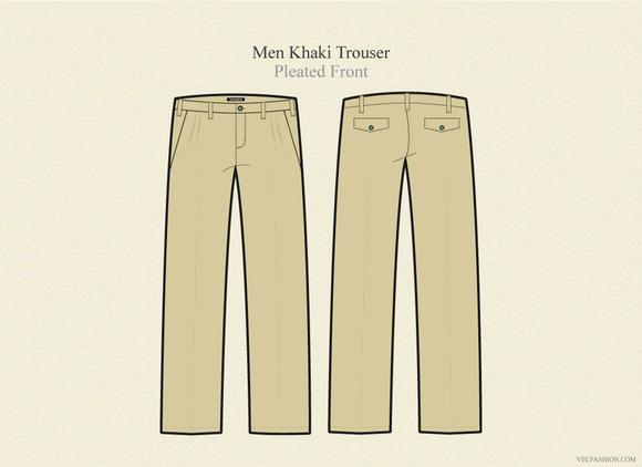 Men Khaki Trouser Vector Template