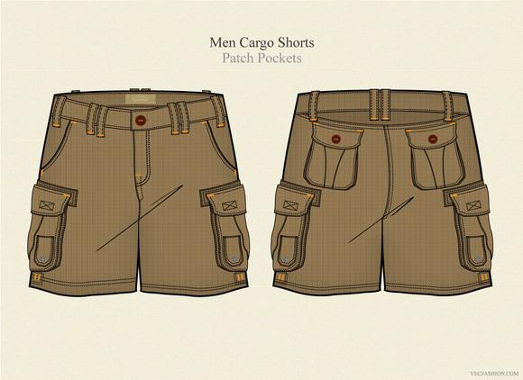Men Cargo Shorts Vector Template