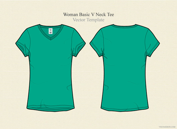 Woman Basic V Neck Tee