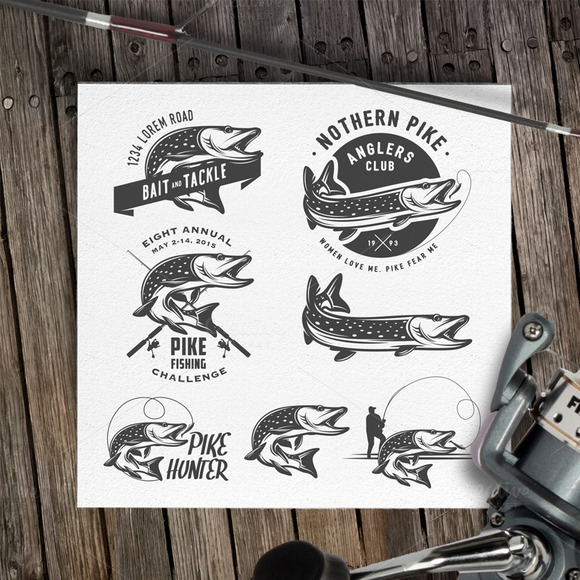 Retro Pike Fishing Logos