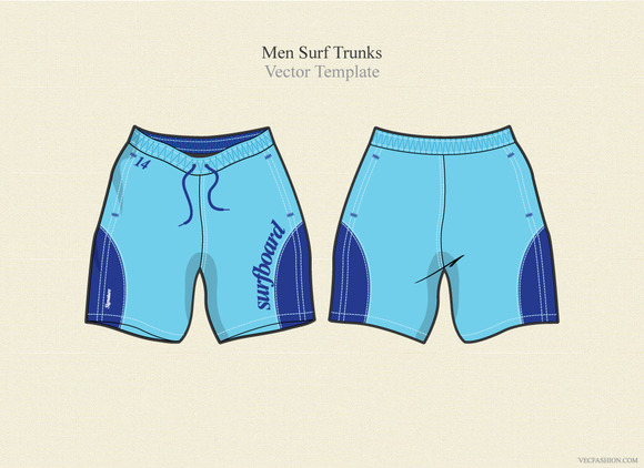 Men Surf Trunks Vector