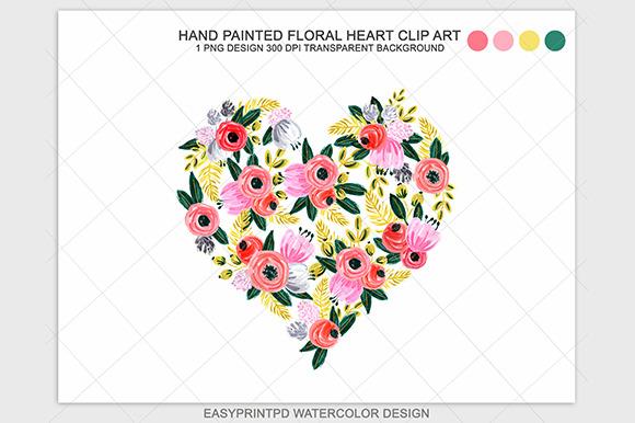 Watercolor Floral Heart Clip Art