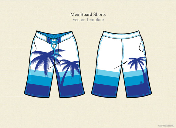 Men Board Shorts Vector Template