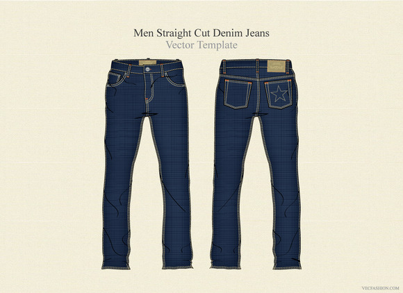 Men Straight Cut Denim Jeans